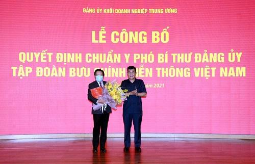 Đảng ủy Khối DN Trung ương, Ủy ban QLVNN tại DN đã công bố các quyết định về việc chuẩn y Phó Bí thư Đảng ủy Tập đoàn, bổ nhiệm 2 thành viên Hội đồng Thành viên Tập đoàn VNPT.